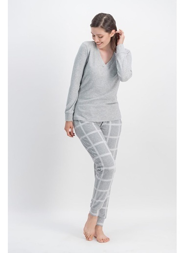 Arnetta Arnetta Basic Ekose Karmelanj Kadın Pantolon Bluz Takım Gri